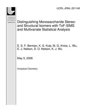 Primary view of object titled 'Distinguishing Monosaccharide Stereo- and Structural Isomers with ToF-SIMS and Multivariate Statistical Analysis'.