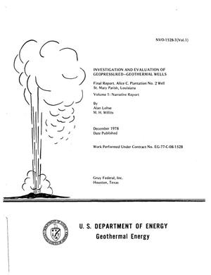 Primary view of object titled 'Investigation and Evaluation of Geopressured - Geothermal Wells, Final Report; Alice C. Plantation No. 2 Well, St. Mary Parish, Louisiana; Volume 1; Narrative Report'.
