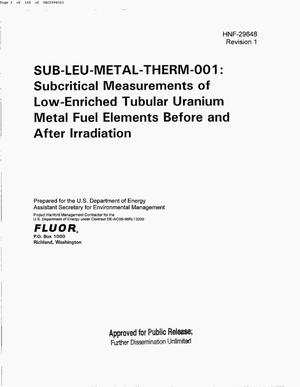 Primary view of object titled 'SUB-LEU-METAL-THERM-001 SUBCRITICAL MEASUREMENTS OF LOW ENRICHED TUBULAR URANIUM METAL FUEL ELEMENTS BEFORE & AFTER IRRADIATION'.