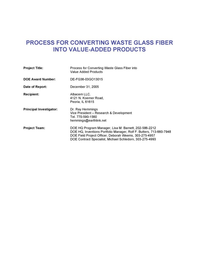 Process for Converting Waste Glass Fiber into Value Added Products