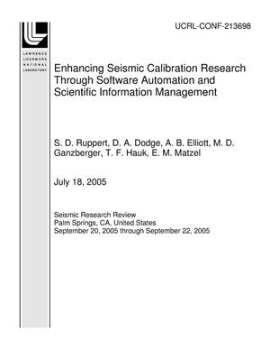 Primary view of object titled 'Enhancing Seismic Calibration Research Through Software Automation and Scientific Information Management'.