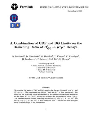 Primary view of object titled 'A Combination of CDF and D0 limits on the branching ratio of B0(s)(d) ---> mu+ mu- decays'.