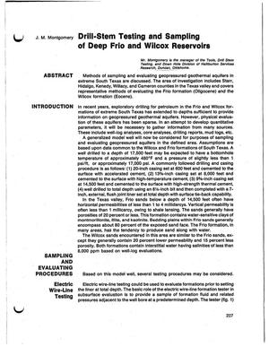 Primary view of object titled 'Drill-stem testing and sampling of deep Frio and Wilcox reservoirs'.