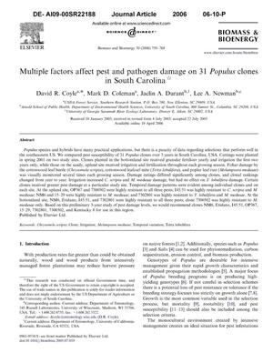 Primary view of object titled 'Multiple factors affect pest and pathogen damage on 31 Populus clones in South Carolina.'.