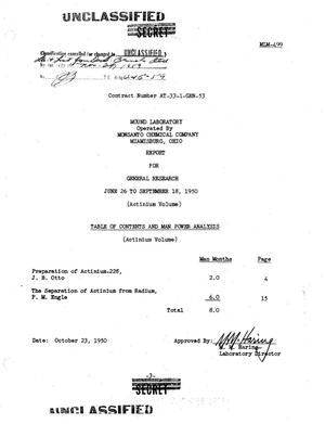 Primary view of object titled 'General Research Report for June 26 to September 18, 1950. (Actinium Volume)'.