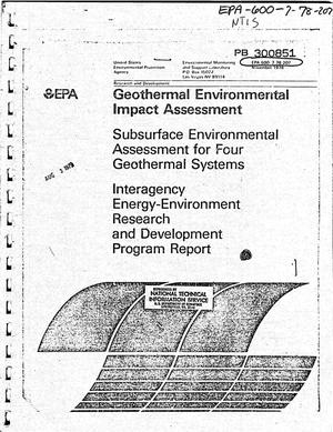 Primary view of object titled 'Geothermal Environmental Impact Assessment: Subsurface Environmental Assessment for Four Geothermal Systems'.