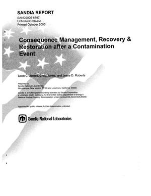 Primary view of object titled 'Consequence management, recovery & restoration after a contamination event.'.