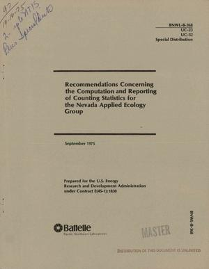 Primary view of object titled 'Recommendations concerning the computation and reporting of counting statistics for the Nevada Applied Ecology Group'.