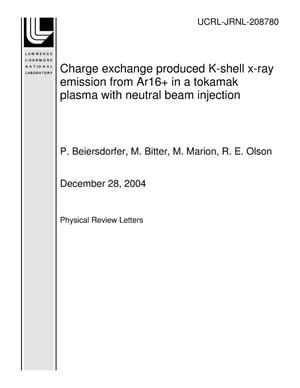 Primary view of object titled 'Charge exchange produced K-shell x-ray emission from Ar16+ in a tokamak plasma with neutral beam injection'.