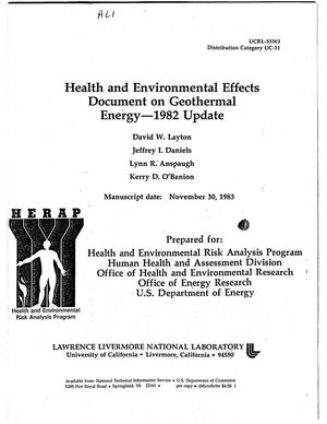 Primary view of object titled 'Health and Environmental Effects Document on Geothermal Energy -- 1982 update'.