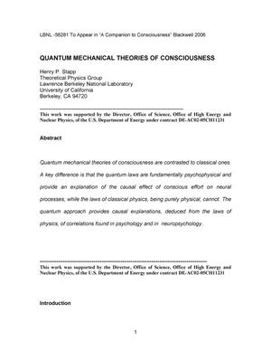 Primary view of object titled 'Quantum Mechanical Theories of Consciousness'.