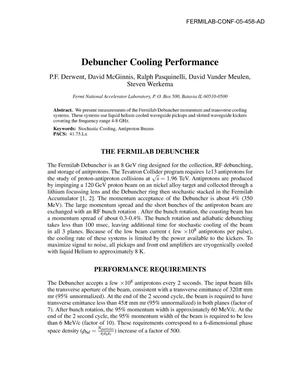 Primary view of object titled 'Debuncher cooling performance'.
