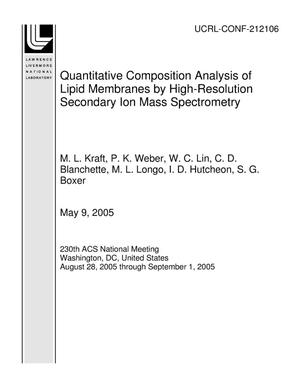 Primary view of object titled 'Quantitative Composition Analysis of Lipid Membranes by High-Resolution Secondary Ion Mass Spectrometry'.