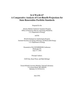 Primary view of object titled 'Is it Worth it? A Comparative Analysis of Cost-Benefit Projectionsfor State Renewables Portfolio Standards'.