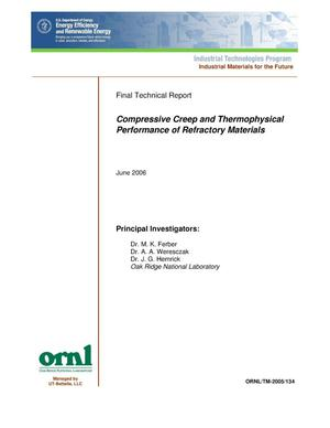 Primary view of object titled 'Comprehensive Creep and Thermophysical Performance of Refractory Materials'.