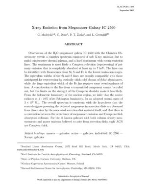 Primary view of object titled 'X-ray Emission from Megamaser Galaxy IC 2560'.