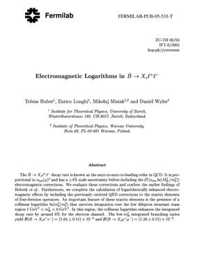 Primary view of object titled 'Electromagnetic logarithms in anti-B ---> X(s) l+ l-'.