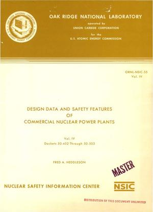 Primary view of object titled 'Design data and safety features of commercial nuclear power plants. Vol. IV. Dockets 50-452 through 50-503'.