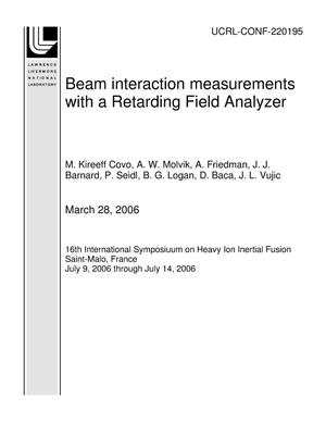 Primary view of object titled 'Beam interaction measurements with a Retarding Field Analyzer'.