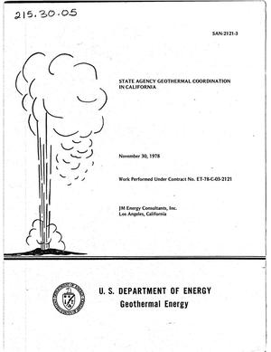 Primary view of object titled 'State agency geothermal coordination in California'.