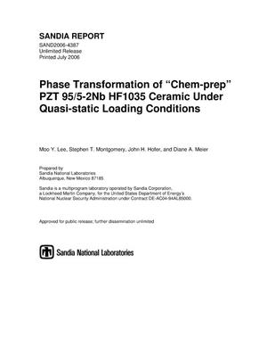"Primary view of object titled 'Phase transformation of ""chem-prep"" PZT 95/5-2Nb HF1035 ceramic under quasi-static loading conditions.'."