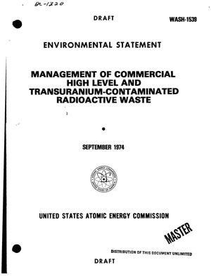 Primary view of object titled 'Management of commercial high-level and transuranium-contaminated radioactive wastes. Environmental statement'.