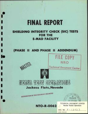 Primary view of object titled 'Shielding integrity check (SIC) tests for the E-MAD facility. Phase II and Phase II addendum. Final report'.