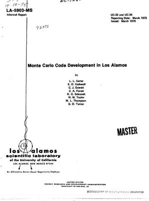 Primary view of object titled 'Monte Carlo code development in Los Alamos'.