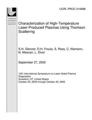 Primary view of object titled 'Characterization of High-Temperature Laser-Produced Plasmas Using Thomson Scattering'.