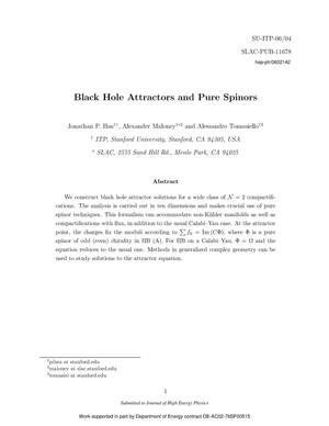 Primary view of object titled 'Black Hole Attractors and Pure Spinors'.