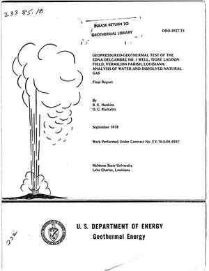 Primary view of object titled 'Geopressured-geothermal test of the EDNA Delcambre No. 1 well, Tigre Lagoon Field, Vermilion Parish, Louisiana: Analysis of water and dissolved natural gas: Final report'.
