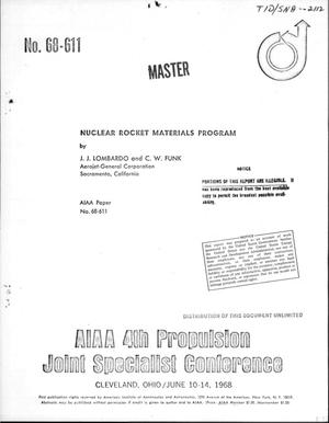 Primary view of object titled 'Nuclear rocket materials program'.