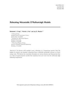 Primary view of object titled 'Reheating Metastable O'Raifeartaigh Models'.