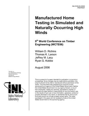 Primary view of object titled 'Manufactured Home Testing in Simulated and Naturally Occurring High Winds'.