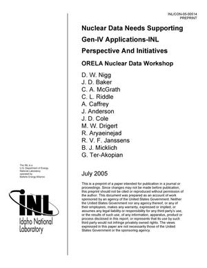 Primary view of object titled 'Nuclear Data Needs Supporting Gen-IV Applications - INL Perspective and Initiatives'.