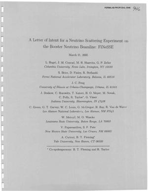 Primary view of object titled 'A letter of intent for a neutrino scattering experiment on the booster neutrino meanline: FINeSSE'.