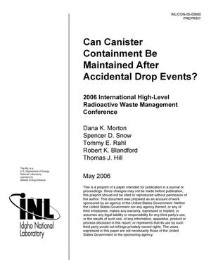 Primary view of object titled 'Can Canister Containment Be Maintained After Accidental Drop Events?'.