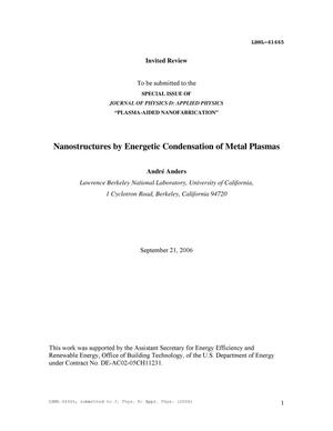 Primary view of object titled 'Metal plasmas for the fabrication of nanostructures'.
