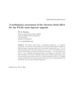 Primary view of object titled 'A preliminary assessment of the electron cloud effect for the FNALmain injector upgrade'.
