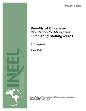 Primary view of object titled 'Benefits of Qualitative Simulation for Managing Fluctuating Staffing Needs'.
