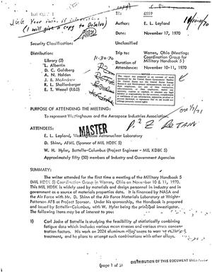 Primary view of object titled 'Trip report to Warren, Ohio (meeting: coordination group for Military Handbook 5)'.