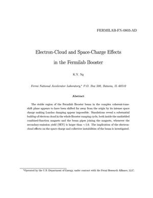 Primary view of object titled 'Electron cloud and space charge effects in the Fermilab Booster'.