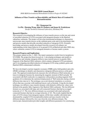 Primary view of object titled 'Influence of Mass Transfer on Bioavailability and Kinetic Rate of Uranium(VI) Biotransformation'.