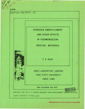Primary view of object titled 'Hydrogen embrittlement and other effects in thermonuclear reactor materials'.