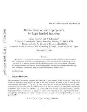 Primary view of object titled 'D-term inflation and leptogenesis by right-handed sneutrino'.