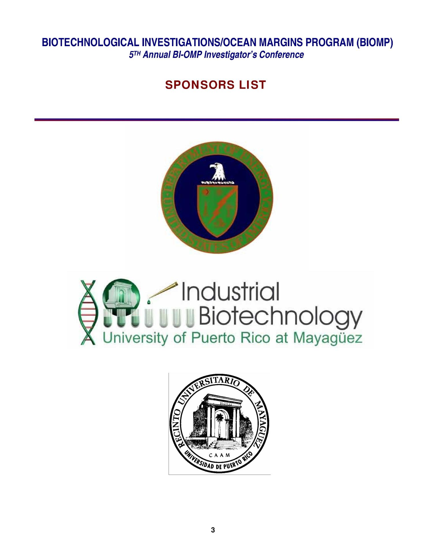 5TH BIOTECHNOLOGICAL INVESTIGATIONS OCEAN MARGINS PROGRAM                                                                                                      [Sequence #]: 3 of 24