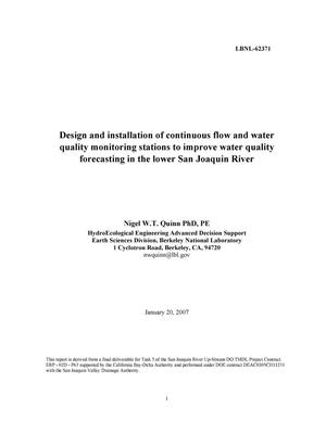 Primary view of Design and installation of continuous flow and water qualitymonitoring stations to improve water quality forecasting in the lower SanJoaquin River