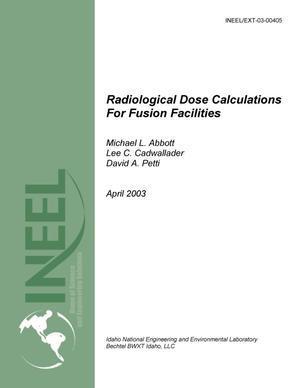 Primary view of object titled 'Radiological Dose Calculations for Fusion Facilities'.