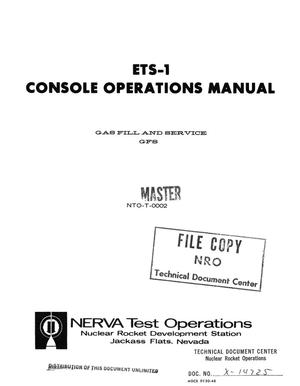 Primary view of object titled 'ETS-1 console operations manual. Gas fill and service GFS'.