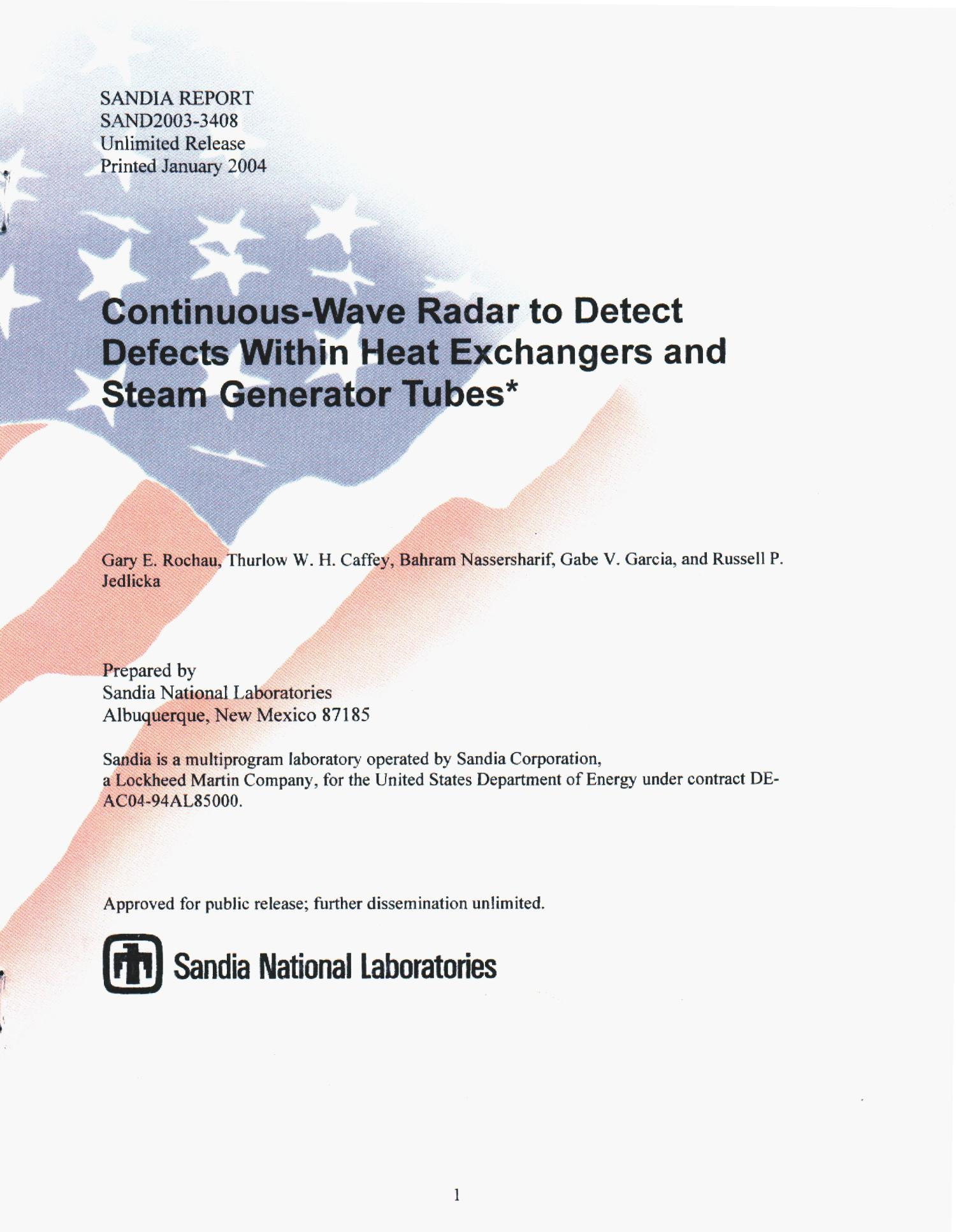 Continuous wave radar to detect defects within heat exchangers and